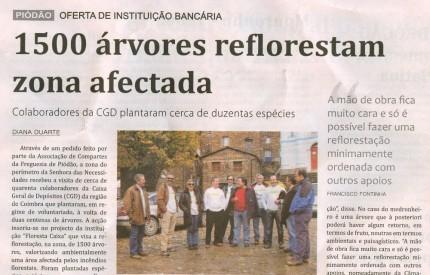 Notícia publicada no Jornal de Arganil, em 13 de Novembro de 2008