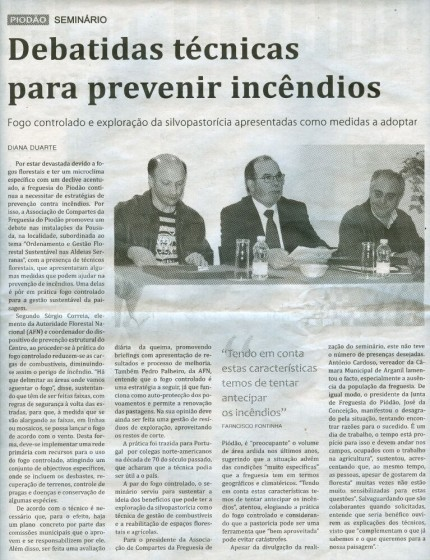 Notícia publicada no Jornal de Arganil, em 26 de Fevereiro de 2009