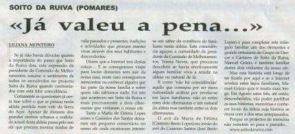 Notícia publicada na Comarca de Arganil, em 25 de Fevereiro de 2009