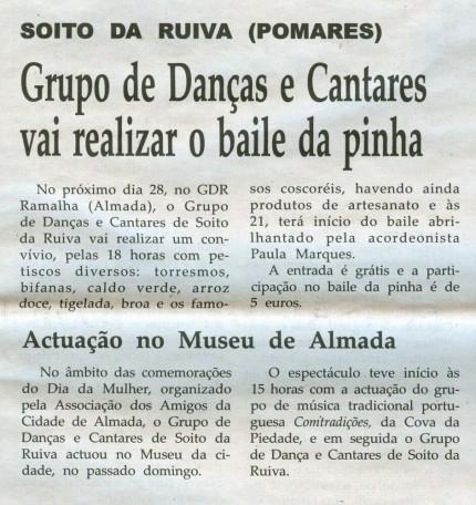 Notícia publicada na Comarca de Arganil, em 18 de Março de 2009