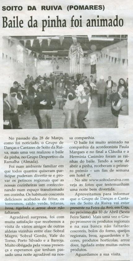 Notícia publicada na Comarca de Arganil, em 8 de Abril de 2009