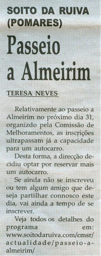 Notícia publicada na Comarca de Arganil, em 27 de Maio de 2009
