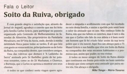 Notícia publicada no Jornal de Arganil, em 15 de Junho de 2009