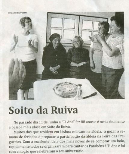 Notícia publicada no Jornal de Arganil, em 25 de Junho de 2009