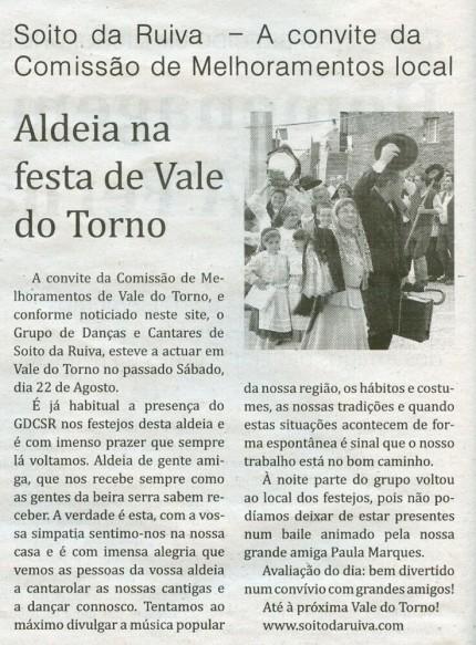 Notícia publicada no Jornal de Arganil, em 27 de Agosto de 2009