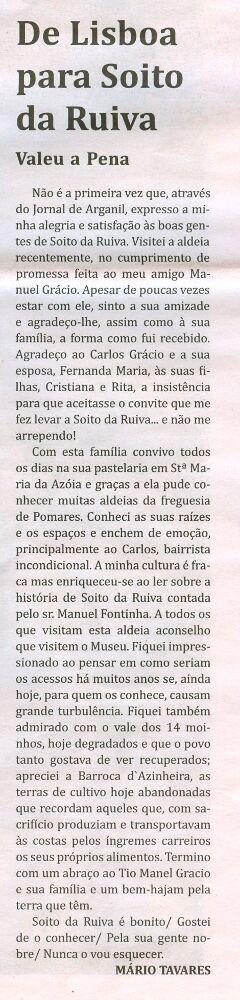 Notícia publicada no Jornal de Arganil, em 24 de Setembro de 2009