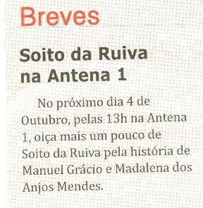 Notícia publicada no Jornal de Arganil, em 1 de Outubro de 2009