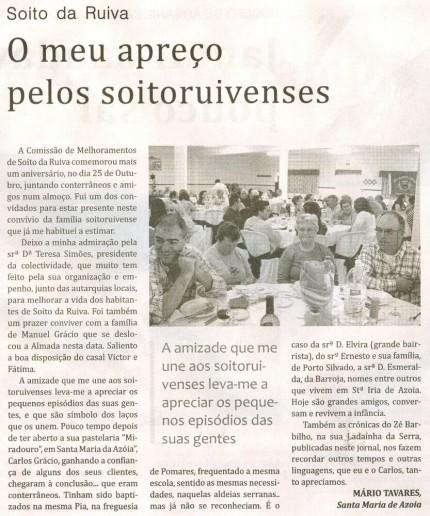 Notícia publicada no Jornal de Arganil, em 19 de Novembro de 2009