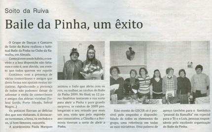 Notícia publicada no Jornal de Arganil, em 25 de Março de 2010