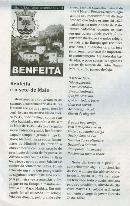 Notícia publicada no Jornal de Arganil,em 13 de Maio de 2010