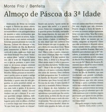 Notícia publicada no Jornal de Arganil,em 20 de Maio de 2010