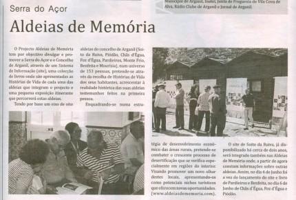 Notícia publicada no Jornal de Arganil, em 10 de Junho de 2010