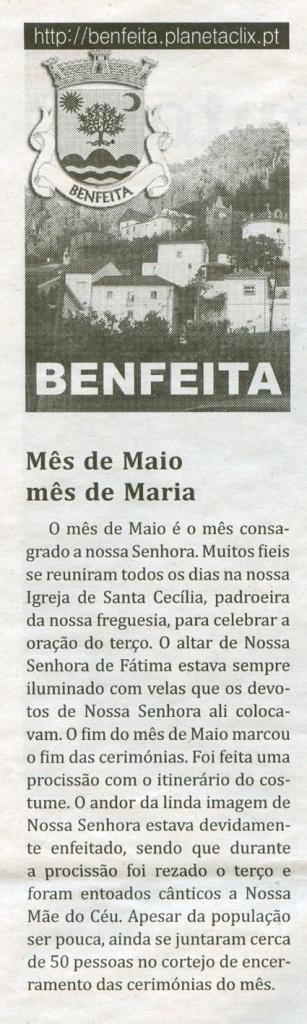 Notícia publicada no Jornal de Arganil, em 10 de Junho de 2010 e em http://benfeita.planetaclix.pt